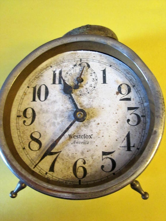 """Old and Worn Partial Vintage 4"""" Westclox America Alarm Clock for Repairs - Steampunk Art - Crafts"""