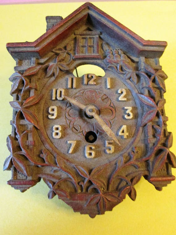 Old and Worn Wood Partial Vintage Cuckoo Clock for Repairs - Steampunk Art - Crafts