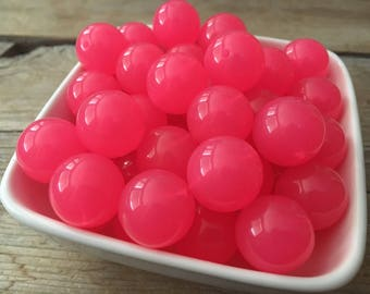 20mm Bright Hot Pink Jelly Chunky Bead, Bubblegum Bead, Summer Acrylic Bead, DIY Chunky Necklace, 10 Count