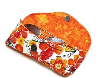 Floral Sunglasses Case, Orange and PInk, hard sunglasses case, summer vacation, eyeglasses case, sunnies case, stocking stuffer gift