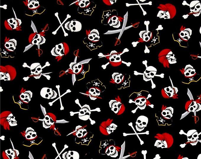 Skulls and Crossbones Pirates Cotton Fabric 1/2 Yard Cut New