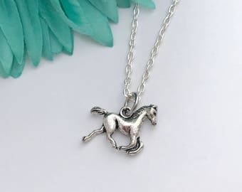 Horse necklace -  horse with chain necklace - fun necklace - silver necklace with lobster clasp - great gift - comes wrapped