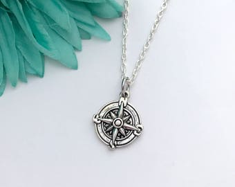 Compass necklace -  compass with chain necklace - fun necklace - silver necklace with lobster clasp - great gift - comes wrapped