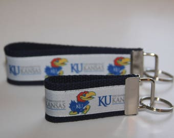Key chain wristlet key fob with University of Kansas Jayhawks Ribbon