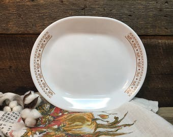 Vintage Corelle Platter/Summer Impressions/Brown Flowers/Oval