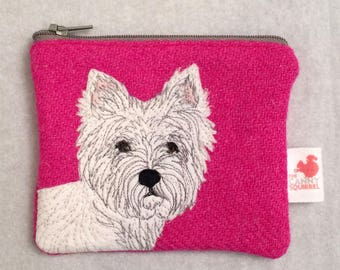 Westie purse - scottie dog - pink - coin purse - Harris Tweed purse - wool purse - tweed purse - appliqué purse - dog purse