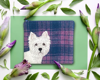 Scottie dog purse - West Highland Terrier purse - Scottie dog zip pouch - blue tartan purse - Harris Tweed purse - tweed cosmetic pouch