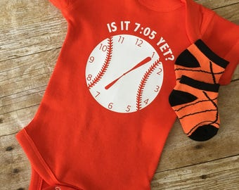Baltimore Orioles - Is It 7:05 Yet? - Baby Bodysuit, Baby T-Shirt, Toddler T-Shirt