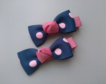 1 pair of clip Alligator Clip in the shape of bow tie, blue pink small polka dots