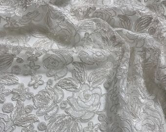 Valentina Lace Fabric in White - Elegant Bridal Lace Fabric With Sequins Embroidery Throughout - Perfect For Weddings