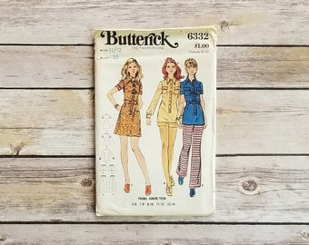 Shirt Dress Pattern Junior Size 12 Belted Short Dress Butterick 6332 Tunic Top Belted Shirt Dress Vintage Pattern Guide Collared Top Girls