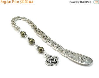 SALE Celtic Style Bookmark Green Beaded Book Mark