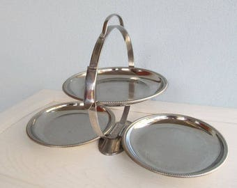 3 Tiered Serving Tray Folding Metal Dessert tray Midcentury Three stand display Centerpiece Layered Stainless Steel 1960s