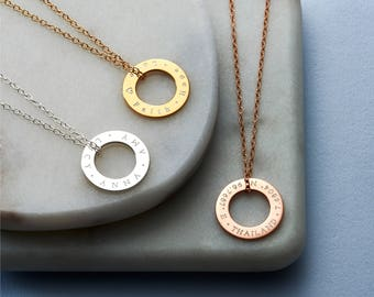 Personalised Circle Message Necklace - Circle Necklace - Personalised Necklace - Date Necklace - NC30