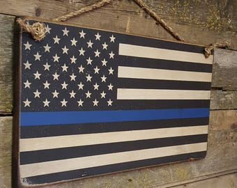 Thin Blue Line, Police Officer, Law Enforcement, Antiqued, Rustic, Wooden Sign