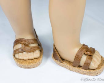American Girl or 18 inch doll SHOES SANDALS beach flip flops peeptoe flats in Brown Tan In REAL Leather with Closed Heel
