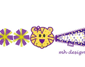 Tiger cheerleader embroidery design 5x7, Applique Design, Megaphone applique, Vintage stitch embroidery, Cheer embroidery file, Pom poms