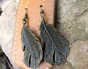 Bronze, Feather Earrings