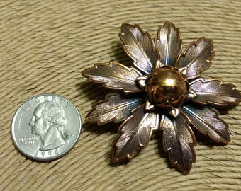 Vintage Large Copper by Bell 3-D Layered Leaves Flower Brooch