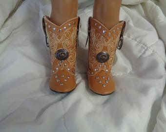 """Tan Concho Studded Western 18 """" DOLL Cowboy Boots--Shown on my american girl doll"""