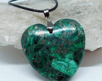 Malachite Pyrite Heart pendant necklace