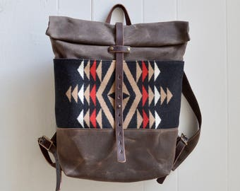 Waxed Canvas Backpack with Pendleton® Wool Fabric / Wool Backpack