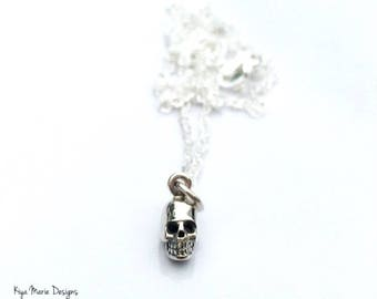 Skull jewelry, sterling silver jewelry, sterling silver miniature skull necklace, bridesmaid necklace,silver charm