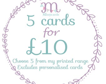 Five cards for 10 - 5 cards for price of 4 - multi buy cards - one card free - card pack - bulk card pack