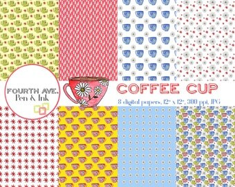 Coffee Cup Digital Paper, Mug, Cup, Hand Painted, Watercolor, Digital Paper, Scrapbook Paper, Digital Paper Pack