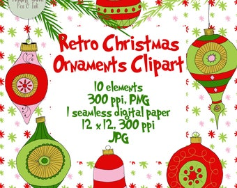 Christmas Ornament Clipart, Christmas Balls Clipart, Hand Drawn Christmas Clipart, Christmas Clipart, DIY Christmas Invite
