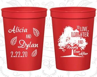 Love Laughter Wedding Cups, Wedding Beer Cups, Fall Wedding, Rustic Wedding Cups, Tree, Family Tree, Wedding Cups (268)