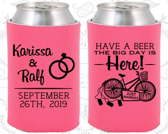 Have a Beer, The Big Day is Here, Fun Wedding Gifts, Just Married, Just Married Wedding Favors, Bicycle Wedding, Wedding Can Coolers (452)