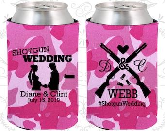 Shotgun Wedding Gift, Personalized Gift, Country Wedding Gift, Southern Wedding Gift, Redneck Wedding Gift, Custom Coolies (562)