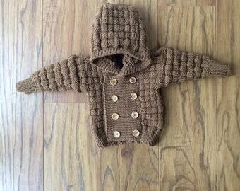Hand knitted babys merino jacket