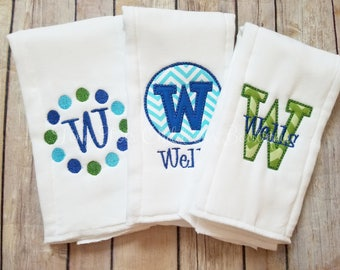 Set of 3 Personalized Burp Cloths - Embroidered Burp Cloth Set - Monogram Burp Cloth - Newborn - Baby Boy - Green - Blue - Applique Burp