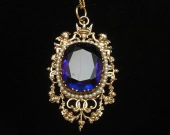 Renaissance Revival Ornate Pendant Necklace Large Purple Stone