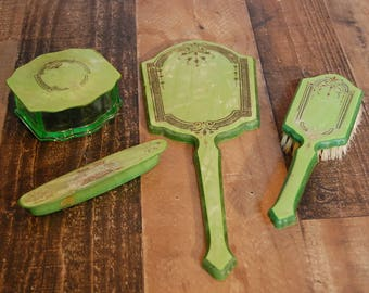 Vintage Celluloid Vanity Set, vintage green celluloid brush set, vintage 1930's vanity set, mirror, brush, nail buffer, glass trinket case