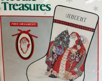 "JCA Needle Treasures Counted cross stitch Old St. Nick Stocking kit #02873 Opened 10"" x 16"""