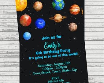 Planets/Space Themed Custom DIGITAL Birthday Invitation.