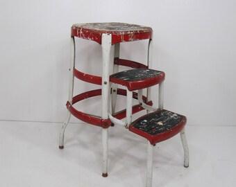 vintage kitchen stool cosco step stool folding step stool white u0026 red metal - Folding Step Stool