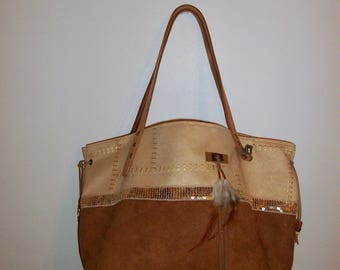 Tote bag in Brown and beige, suede leather handles