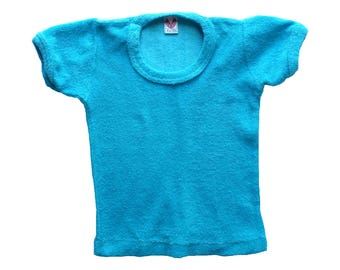 FRENCH VINTAGE 70's / kids / tee-shirt / turquoise terrycloth jersey / new old stock / size 2 years