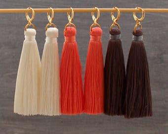 Silk Tassel Earrings, Pink Tassel Earrings, White Tassel Earrings, Tassle Earrings, Statement Earrings, Gold Hoop Earrings, Long Earring