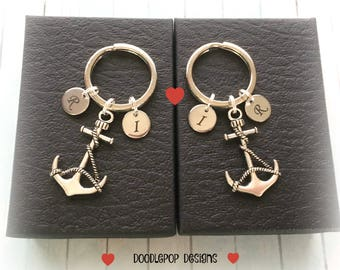 Personalised couple gift - Couple anchor keyrings - Engagement gift - Wedding gift - Valentine's Day gift - Anniversary gift - UK seller