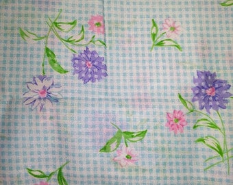 Blue Gingham Fabric with Flowers