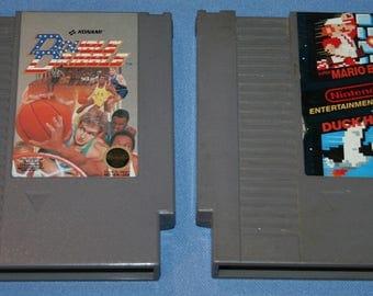 Vtg Nintendo Video Games 2 pcs Double Dribble Konami Super Mario Bros Duck Hunt Toy Video Game