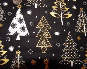 "Brother Sister Design Studio Fabric 36 1/2"" x 45"" Christmas Holiday Winter Black Tree Print Snow Metallic"