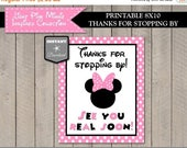 SALE INSTANT DOWNLOAD Light Pink Mouse Printable 8x10 Thanks for Stopping By Party Sign/ Light Pink Mouse Collection / Item #1806