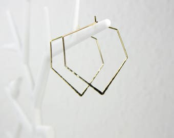 Geometric hammered gold plated hoops earrings C34