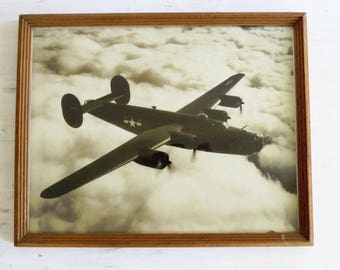 "Antique B 24 Liberator Print in frame/Glass - 14 3/4"" x 11 3/4"" Aircraft in Flight"